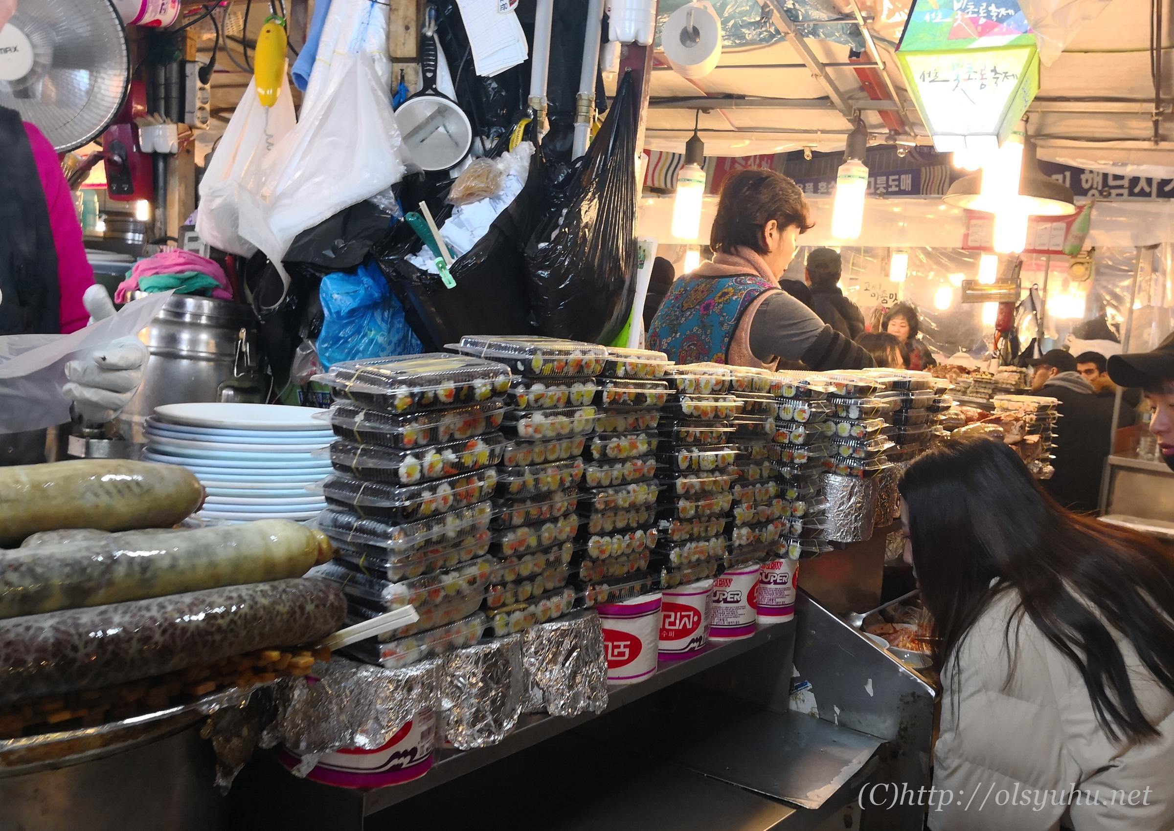 広蔵市場の屋台 韓国グルメ