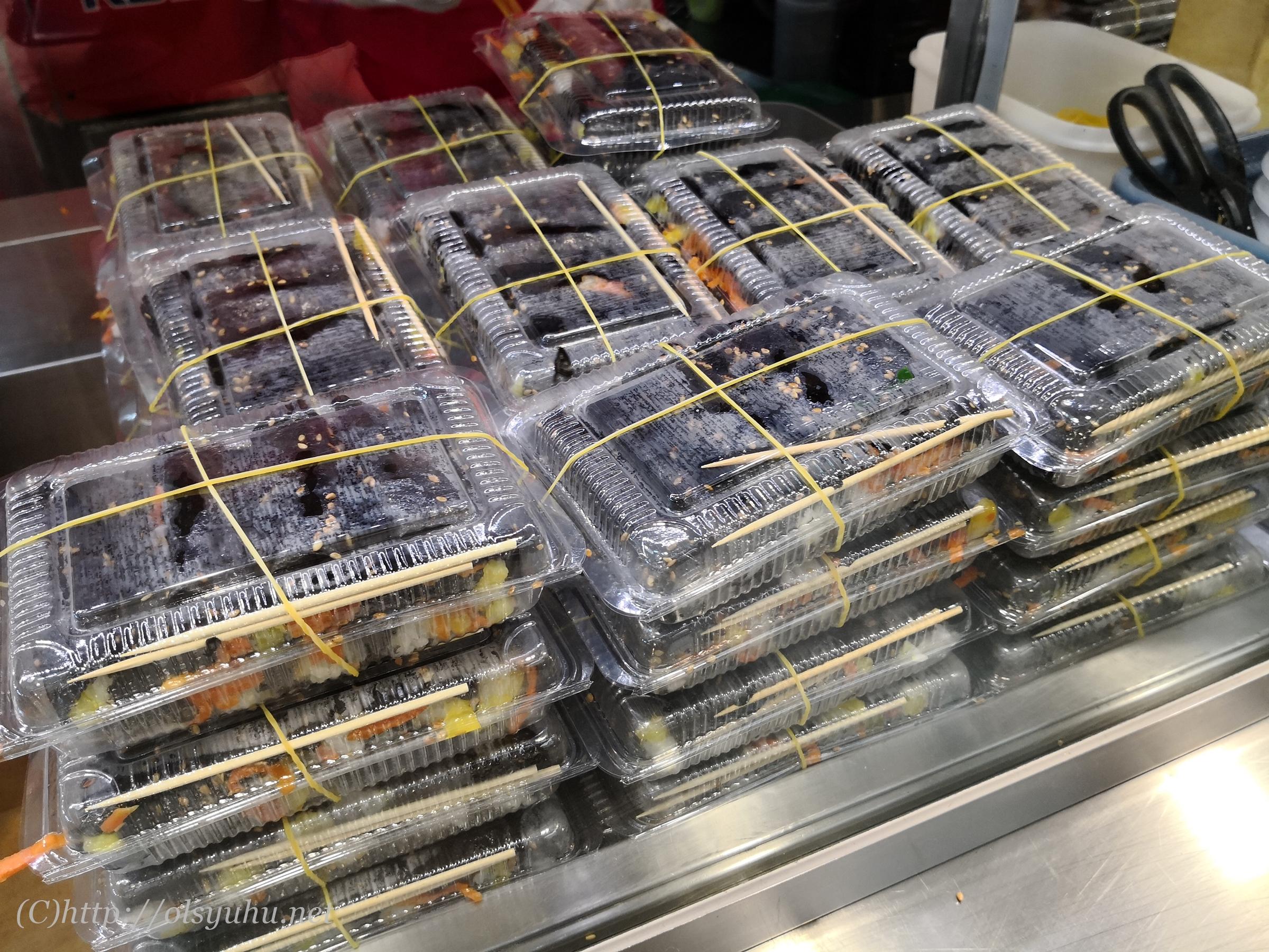 廣蔵市場おすすめ海苔巻き麻薬キンパ