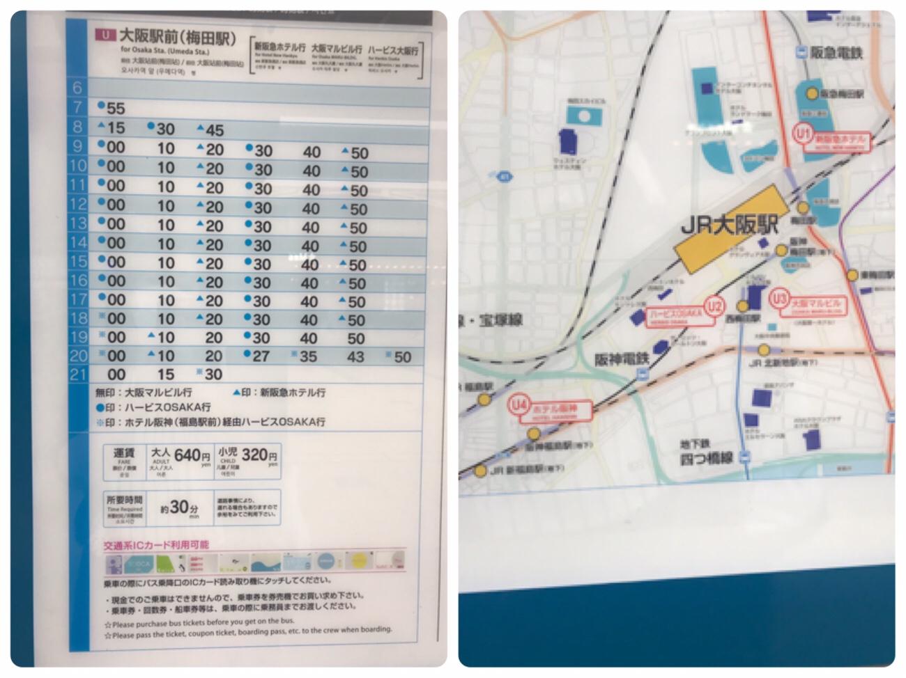 伊丹空港から大阪駅(梅田駅)リムジンバス乗り場と時刻表