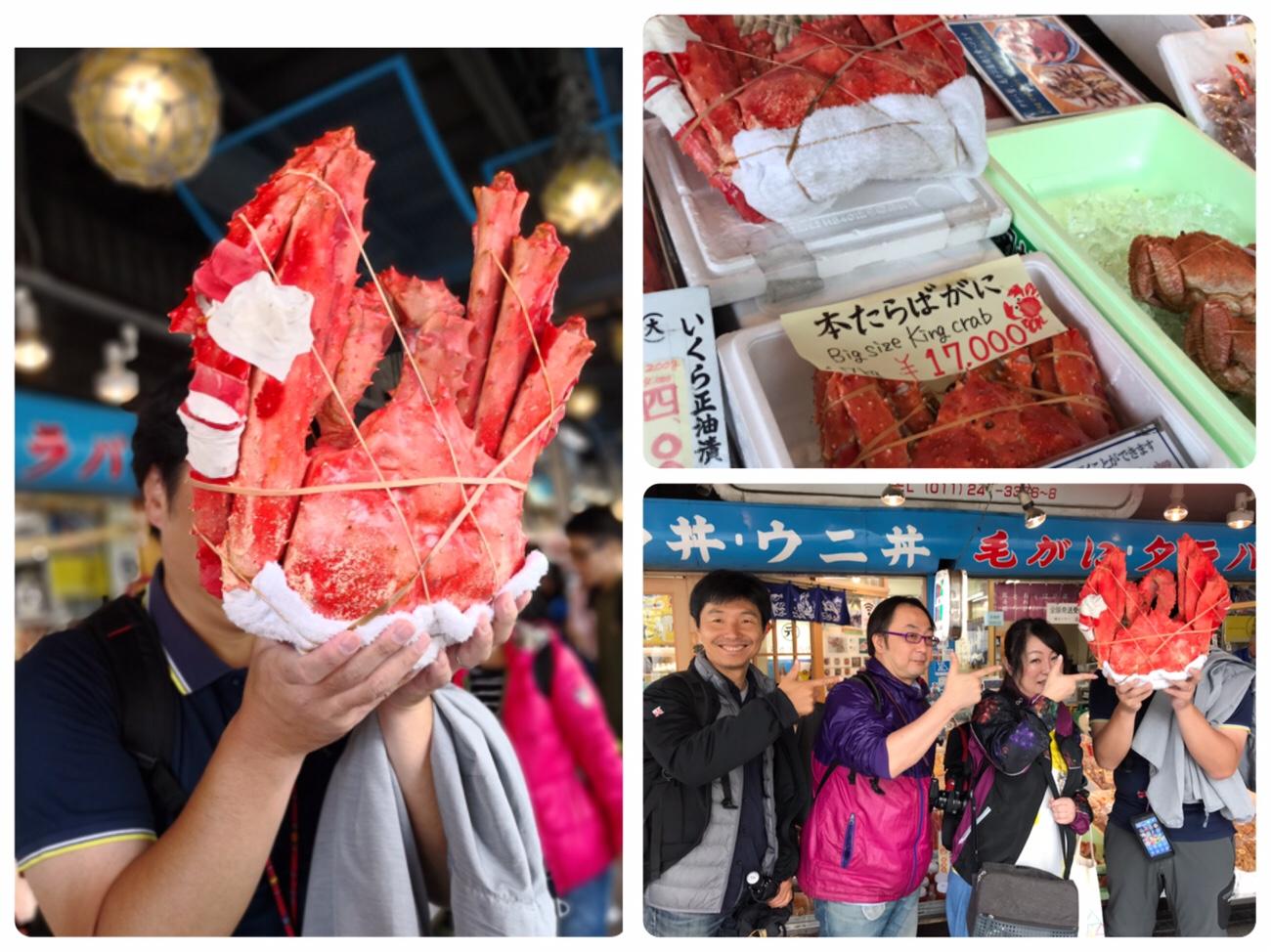 二条市場で海鮮丼を食べたあとの記念撮影 札幌グルメ