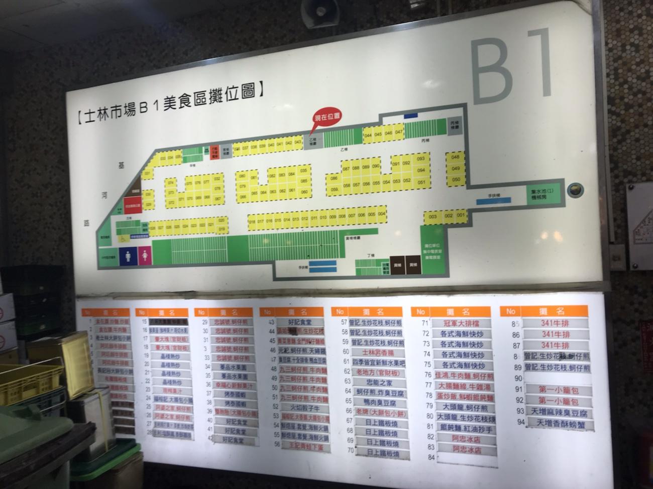士林夜市 台湾グルメ 士林市場地下マップおすすめ 台湾旅行ブログ