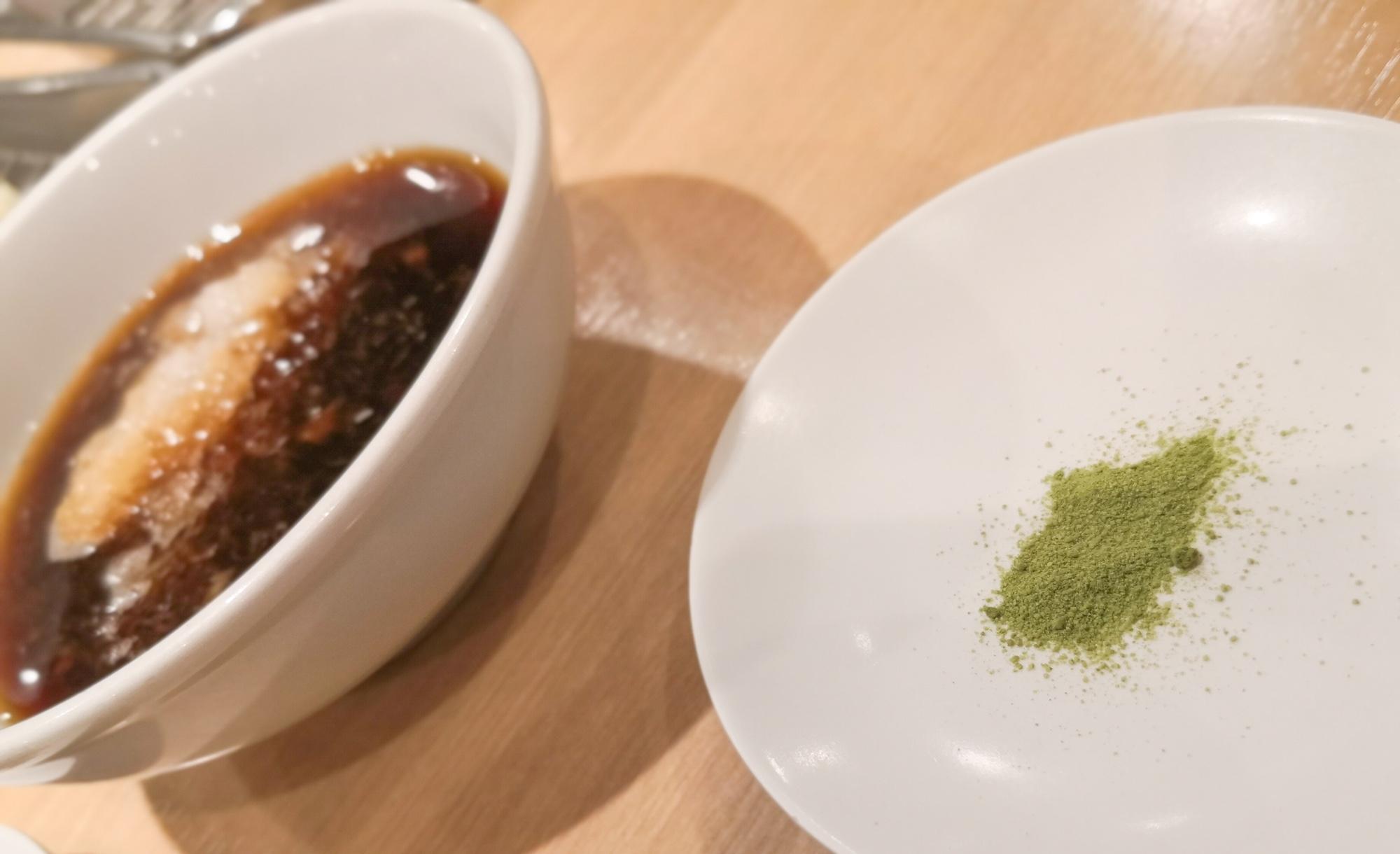 天ぷらひらお てんつゆと抹茶塩